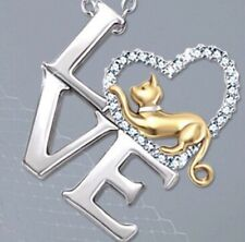 LOVE Cat Sterling Silver Necklace - Brighter Future Cat Rescue (fundraising)