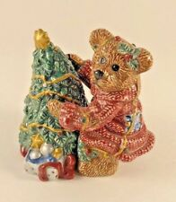 Boyds Bears Bearware Pottery Salt & Pepper Shaker Bear with Christmas Tree 23