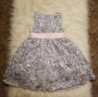 Rare Editions 4T Girl's Floral Bling Dress Pink Tie Grey Gray Sequin Dressy