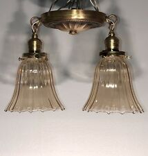 Wired Petite antique aged yellow brass semi flush mount ceiling fixture  63E