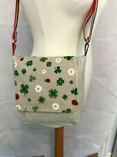 HANDMADE Mini Messenger Bag Ladybird Daisy Beige Whimsical UNIQUE BNWT D08