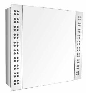 Luxury Stainless Steel Bathroom Mirror Door Led cabinet with Shaver Socket