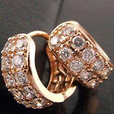 EARRINGS HOOP REAL 18K ROSE G/F GOLD GENUINE DIAMOND SIMULATED ANTIQUE DESIGN