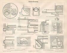 B6534 Combustione del fumo - Incisione antica 1890 - Engraving