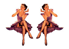 Set of 2 Pin Up Girl (G8) 6 Inch Airplane Sticker Car Window Decal