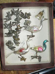 Christbaumschmuck antik 3 Stück Pfau Glocke Kerzenhalter original Speicherfund