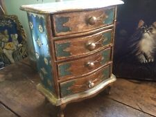 The Best Vintage Italian Florentine Jewelry Chest~Dresser Gold Blue Pink Color