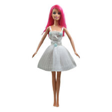 White Strapless White Mini Dress Gown with Lace for Barbie Doll