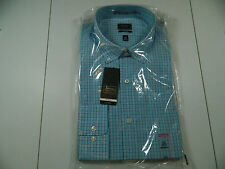 Arrow Fitted No Iron Fitted Dress Shirt Pool Blue Long Sleeve 16 1/2  36/37 NWTS