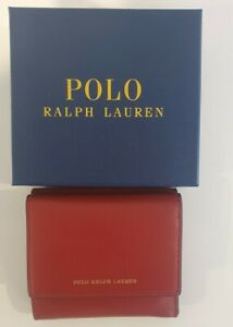 Polo Ralph Lauren Womans Red Leather Wallet Brand New With Box