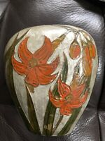Penco Industries enamel metal cloisonne vase w/ Orange Lillies art deco nouveau