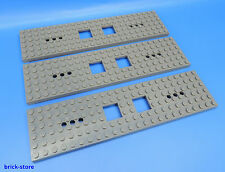 LEGO NR- 6077826/6X24 FERROVIA VAGONE Piastra Grigio Scuro / 3 pezzi