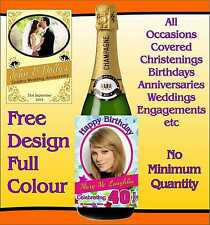 Adhesive Wine Champagne Bottle Label All Occasions Free Design Min Quantity 5