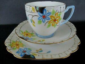 Art Deco / Vintage China Tea Set Trio.Melba China.3826.Hand Painted.British.4779