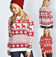 New Womens Ladies REINDEER & SNOWFLAKE Christmas  Knitted Long Sweater Jumper