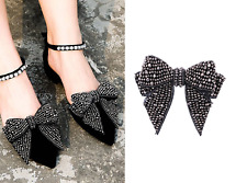 A Pair Black Crystal Wedding Bridal Diamante Crystal Sparkle Bow Shoe Clips