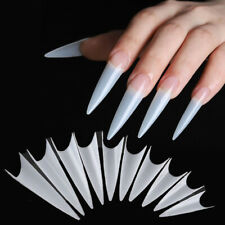 100Pcs Long Clear Stiletto False Nail Tips For Acrylic Nails Manicure Nail Art