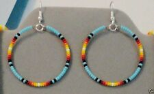 "Hoop Earrings 1.5""~Native American Made~ Blue Turquoise Sunburst Beaded Silver"