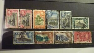 1937-1938 Ceylon Stamps George VI Nice Selection of 10 fine used inc 2c m mint