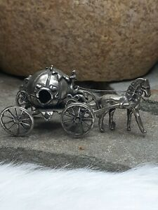 Vintage 23g PRINCESS CARRIAGE HORSE BUGGY MINIATURES ITALY 800 STERLING SILVER