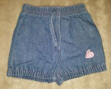 BABY GIRLS Sz 000 blue & pink NOW denim shorts CUTE! ELASTIC WAIST!