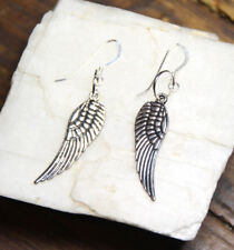 925 sterling silver earrings charm Feather pewter 1 pair Angel Wing Wings Angels