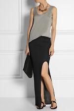 NWT Helmut Lang Kinetic Jersey Black Long Maxi Slit Skirt $210 – M