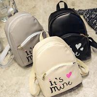 H3E# Women Backpack Leather School Bag Rucksack College Shoulder Satchel Travel