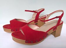 NEXT Signature Red Suede Clog Style Sandals UK 7 NWOB £60 Platform Ankle Strap