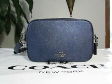 NWT Coach Glitter Crossgrain Leather Jes Crossbody Shoulder Bag F88011 Cadet Blu