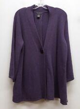 SARAH SPENCER Size 1X Purple Lambswool Angora One Button Cardigan Sweater