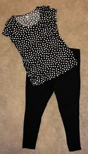 Maternity Leggings And Shirt Size XL Black Bottoms And Polkadot Top