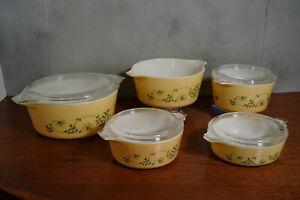 Pyrex Shenandoah Set of 5 casseroles, great shape, one lid missing,