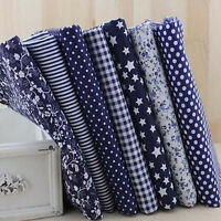 7pcs Assorted Quilt Pre Cut Fabric Patchwork Cotton Mixed Pattern Craft 25x25cm