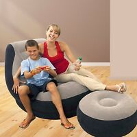 Inflatable Ultra Lounge With Ottoman Air Chair Cup Holder Sofa Gaming Soft Seat