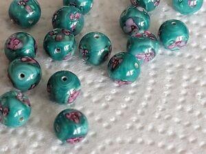 24 Vintage 10 MM Lampwork Beads Clear Coat Glass On Green Field w Pink Flowers