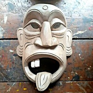 Sri Lankan Wooden Kolam Mask FOLK PLAY TIKI Hand Carving Wall Art FOR HOME BUGS