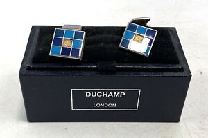 Mens Duchamp Cufflinks Blue & Silver Geometric Design Boxed