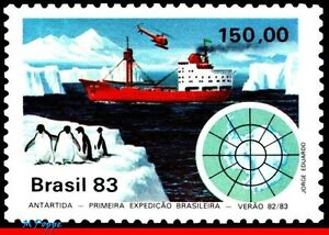 1845 BRAZIL 1983 ANTARCTIC, 1st EXPEDITION, SHIPS PENGUIN HELICOPTERS C-1309 MNH