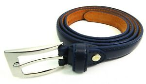 New Ladies Womens Slim Skinny Style Leather Lined Belt By Milano Silver Buckle