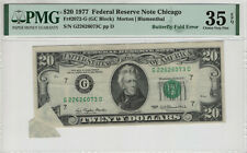 1977 $20 FEDERAL RESERVE BUTTERFLY FOLD OVER ERROR NOTE PMG VF 35 EPQ (073C)
