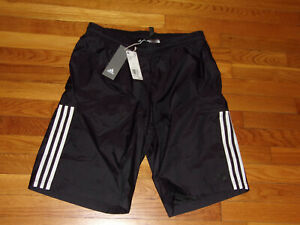 NWT ADIDAS BLACK W/WHITE STRIPES ATHLETIC SHORTS WITH LINING MENS LARGE