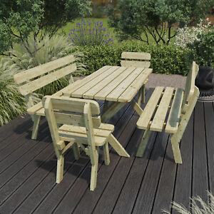 Gartenbank Sitzgruppe Holz Tisch 120 cm Gartenmöbel Kiefer 35mm imprägniert