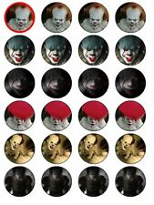 24 X IT PENNYWISE CLOWN HALLOWEEN RICE PAPER  CAKE TOPPERS