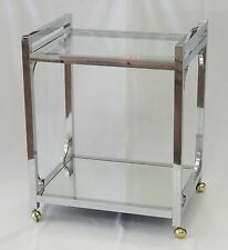 CHIC 70's KARL SPRINGER MILO BAUGHMAN CHROME WITH MIRRORED SHELF TEA BAR CART