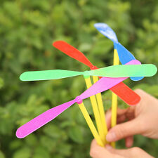 20X Plastic Toy Helicopter Propeller Hand Rub Flying Dragonfly Kids Favors Gift
