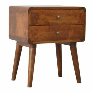 Deco Style Curved Edge Bedside Table Cabinet Mid Century Tapered Legs