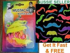 Fluro Moustache Mo Beer Bottle clip Dummy Party Novelty Handlebar Mow FUN Gift