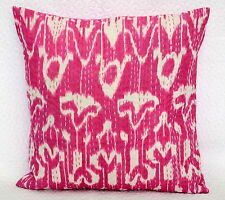 Ethnic Cotton Pink Ikat Cushion Cover Kantha Stitch Throw Pillow Case Home Decor