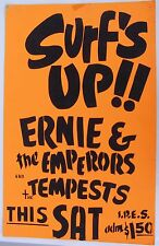 Santa Cruz Surf Band Posters, lot of 4. Mid 1960's. Rare, hand-made. Surf's Up!